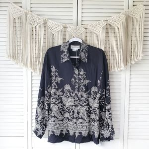 DIANE VON FURSTENBERG Black Silk Button Down Top M